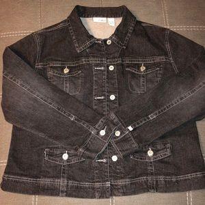Jackets & Blazers - Chico's Platinum Black Denim Jacket Size 16W/18